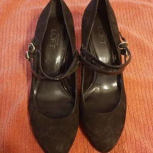 Ann Taylor Loft  brown velvet high heels